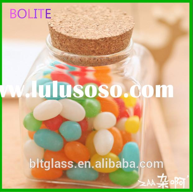 small decorative candy glass jar with cork lid