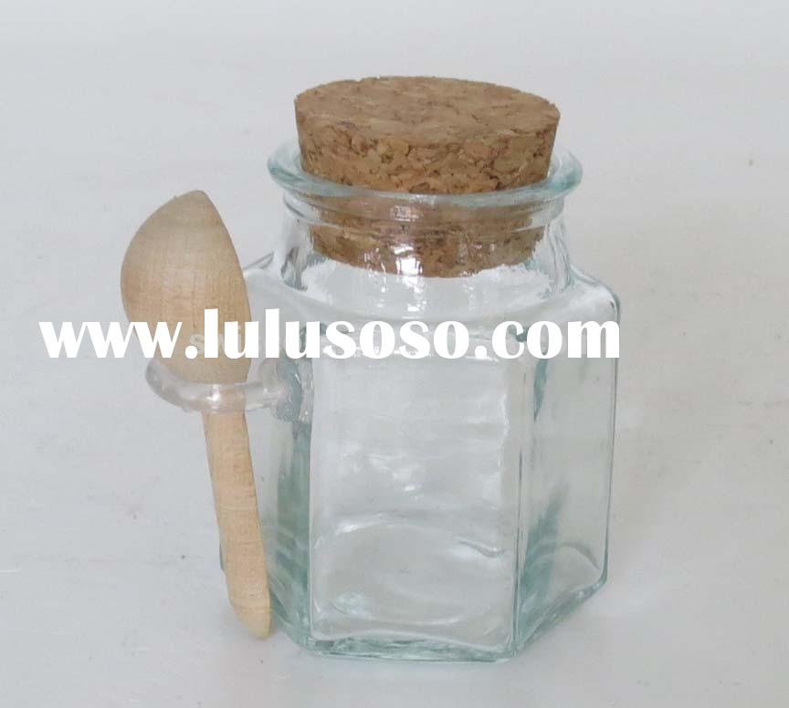 small glass jar with cork spoon SP017-ZB-A7