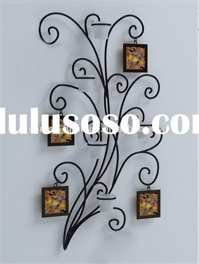 Home decorative wall hanging metal art wrought iron family tree photo frame