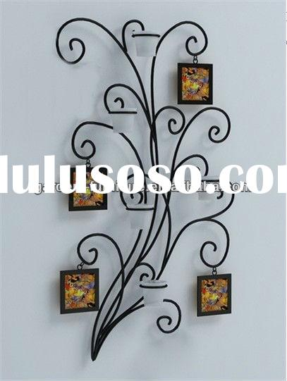 metal family tree wall photo frames with candle holder